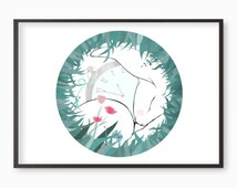 White Rabbit illustration giclee art print - Many sizes available A3 / A4 / A5 / 8 x 10 Alice in Wonderland