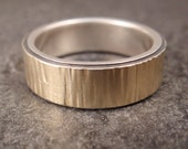 Wedding Band - Tree Bark Ring - 18k Gold/Sterling Silver Bi-Metal Ring with Sterling Silver Lining