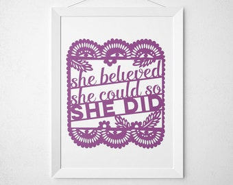 Laser Cut Wall Art: She believed she could so she did