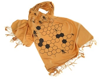 "Honeybee scarf. Large Beehive ""Oh Honey"" Pashmina. Choose mustard yellow, chocolate brown, black and more!"