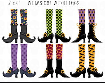 Halloween Clip Art | Whimsical Witch Legs Clip Art Set | Designer Resources | Digital Embellishments | Instant Download Halloween Clip Art