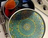 Turquoise Mandala Travel Tin - Bohemian Stash Box With Transparent Geometric Suncatcher Lid - Pillbox - Party Favor