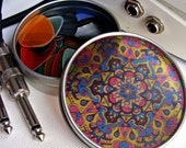 CMYK Mandala Travel Tin - Bohemian Stash Box With Transparent Geometric Suncatcher Lid in Blue Pink Yellow Black - Pillbox - Party Favor
