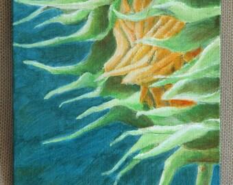 "Emo Sunflower Original Acrylic Painting 4"" x 5"""