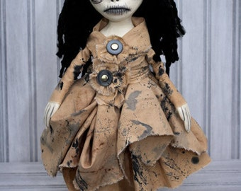 Gothic Rag Doll - Stand Up Clay/Fabric/Wood Sculpture Art Lydia Creepy Black Eyed Girl
