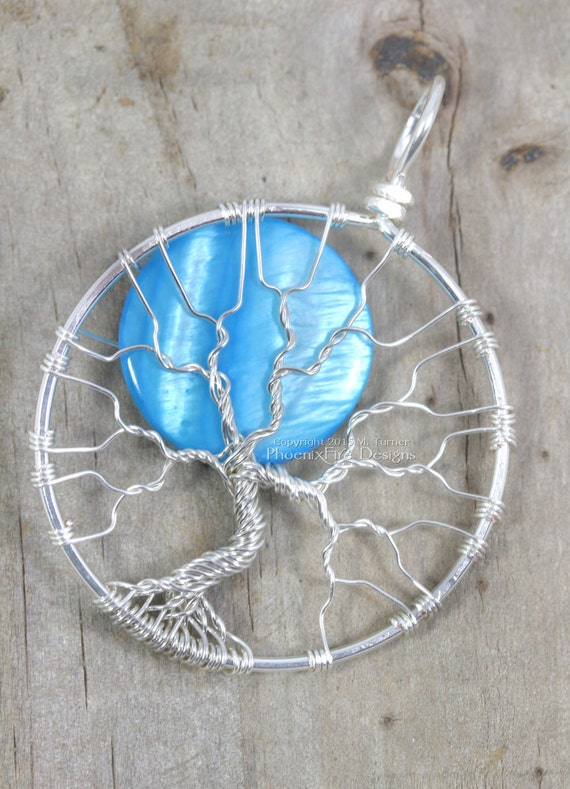 Once in Blue Moon Full Moon Tree of Life Pendant Silver Wire Wrapped Jewelry Handmade Wire Wrap Tree Blue Moon Celestial Necklace