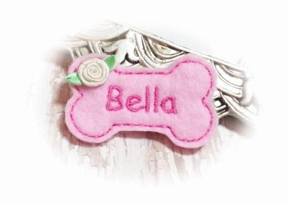 Felt Bone Dog Bow - Pink Girl Dog Bone PERSONALIZED with your pet's name - Dog Bow Feltie, Bone Dog Hair Bow, Pet Hair Accessory