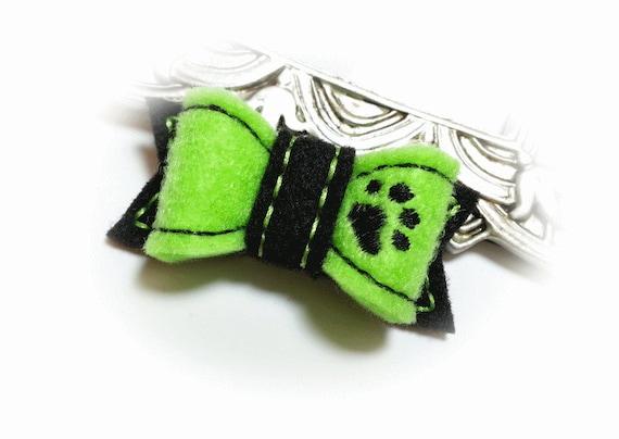 Dog Hair Bow, Lime Dog Bow, Dog Paw, Felt Bow, Embroidery Design