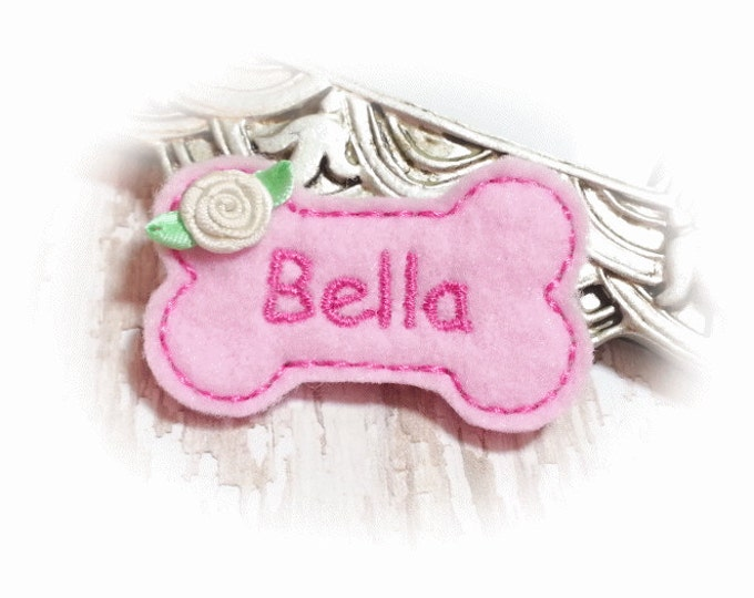 Bone Dog Bow, Pink Dog Bow, Pink Dog Bone, Personalized Dog Bow, Pink Pet Bow, Pink Dog Bone, Girl Dog Bow, Girl Pet Bow, Embroidered Bone