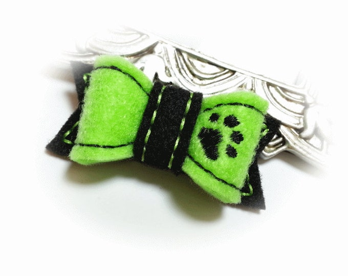 Dog Bow with Paw, Dog Hair Bow, Small Dog Bow, Pet Grooming Bow, Pet Hair Bow, Lime Green Bow, Handmade Dog Bow