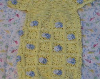 Crochet Pattern - Yellow Squares with Blue Flowers Sweet Pea Pattern - Baby Cocoon Pattern - Baby Sleep Bag or Sac Pattern -Digital Download