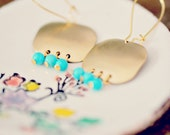 Small Brass and Turquoise Chandelier Earrings