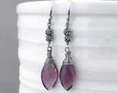 Sterling Silver Earrings Dangle Amethyst Earrings Bohemian Earrings Purple Earrings Silver Drop Earrings Rustic Jewelry - Tracey