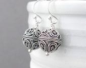 Silver Bead Earrings Silver Dangle Earrings Simple Silver Earrings Everyday Jewelry Boho Chic Jewelry Gift for Women - Petite Drops