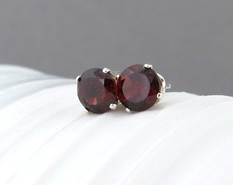 Garnet Stud Earrings Small Silver Earrings Garnet Earrings Gemstone Post Earrings Red Earrings January Birthstone Everyday Jewelry