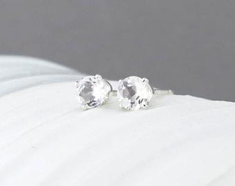 White Topaz Earrings Tiny Silver Earrings Silver Stud Earrings 4mm Gemstone Post Earrings Topaz Stud Earrings April Birthstone Gift for Her