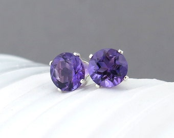Amethyst Earrings Small Silver Earrings Amethyst Stud Earrings 6mm Gemstone Post Earrings Purple Earrings Bohemian Jewelry Gift for Her
