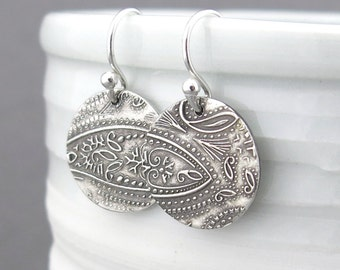 Paisley Earrings Dangle Silver Earrings Tiny Circle Silver Earrings Bohemian Jewelry Rustic Jewelry Gift for Her Under 50