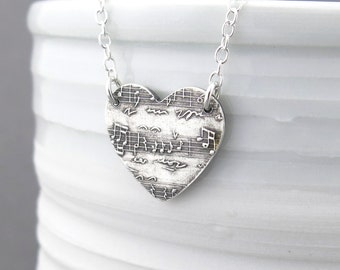 Sheet Music Necklace Sterling Silver Necklace Heart Necklace Silver Necklace Gift for Music Lover Unique Handmade Jewelry Bohemian Jewelry