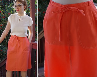 Just PEACHY 1970's Vintage Bright Peach Pink Knee Length Wrap Skirt // size Small Medium // by KORET of California