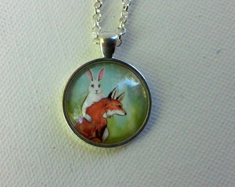 Round  Bunny Pendant  - Strength - the Rabbit Tarot