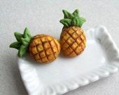 Pineapple Stud Earrings - polymer clay miniature food jewelry