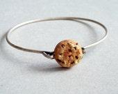 Chocolate Chip Cookie Bangle Bracelet - polymer clay miniature food jewelry