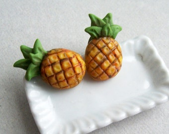 Pineapple Stud Earrings - polymer clay miniature food jewelry