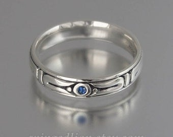 THE SECRET silver mens wedding band with Blue Sapphire unisex ring