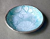 Ceramic Ring Bowl Aqua edged in gold