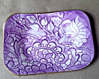 Ceramic Trinket  Dish  Soap Dish Purple edged in gold