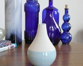 Blue Vase - SHOP SALE - Short Groove Vase in Cerulean Blue