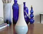 Blue Vase - SHOP SALE - Ceramic Bottle Vase in Cerulean Blue