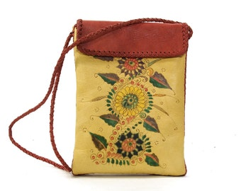 CHAR Leather Purse / Vintage 1970s One of a Kind Handpainted Leather Shoulder Bag / Bohemian Hippie Pouch