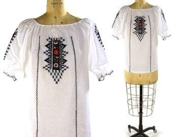 Embroidered Peasant Blouse / Vintage 1970s White Cotton Gauze