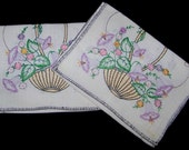 Sweet Vintage Pr. Hand Embroidered Linen Runners w/ Basket Of Morning Glories