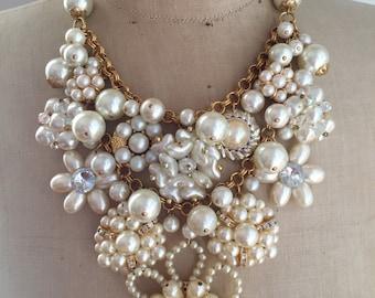 Vintage Wedding Necklace, Pearl, Bridal, Statement - Krystal Carrington v Coco