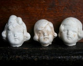 3 Vintage Dug Up Adorable Doll HEADS Halloween Doll Parts Jewelry Supplies Assemblage Curiosity Cabinet Frozen Charlotte Doll 51E