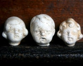 3 Vintage Dug Up Adorable Doll HEADS Halloween Doll Parts Jewelry Supplies Assemblage Curiosity Cabinet Frozen Charlotte Doll 51F
