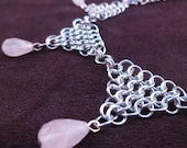Pretty in Pink - Chain Maille Necklace - Pink Quartz