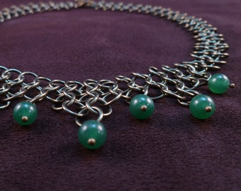 Erin - Green Aventurine and Antiqued Brass Chain Maille Necklace