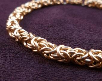 Micro Goldtone Byzantine Bracelet - Chain Maille - Unisex - Small Weave