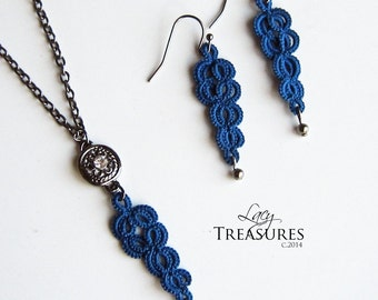 Lace Necklace & Dangle Earrings . Blue sapphire . Unique Statement jewelry . Womens Jewelry . Free shipping
