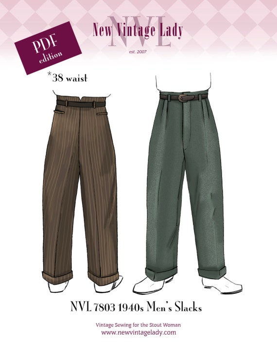 Men's Vintage Reproduction Sewing Patterns NVL PDF 7803 1940s Mens Slacks pattern 38 waist $18.00 AT vintagedancer.com