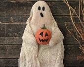 Primitive Halloween Ghost Door Doll Wall Hanging. Halloween Decor, Handmade Halloween, Ghost Decoration, Primitive Ghost with pumpkin
