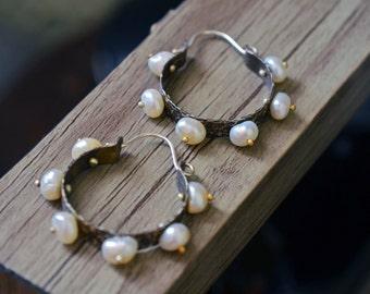 Pinned Sterling Silver And Pearls Hoop Earrings. Rustic Wedding. Textured.