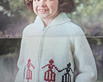 Jacket Knitting Patterns Kiddies Cardigan Sweaters Sizes 4 - 6 Years Mary Maxim 1425 Children Bulky Weight Yarn  Paper Original NOT a PDF