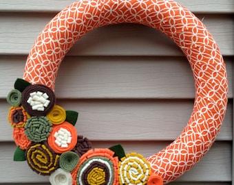 Autumn Wreath - Fall Wreath - Thanksgiving Wreath - Felt Flower Fall Wreath - Felt Wreath - Yarn Wreath - Orange Wreath - Halloween Wreath