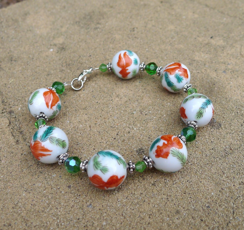 handmade w vintage koi fish beads koi fish bracelet green