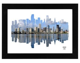 Miami City Skyline Print with skyscraper photo